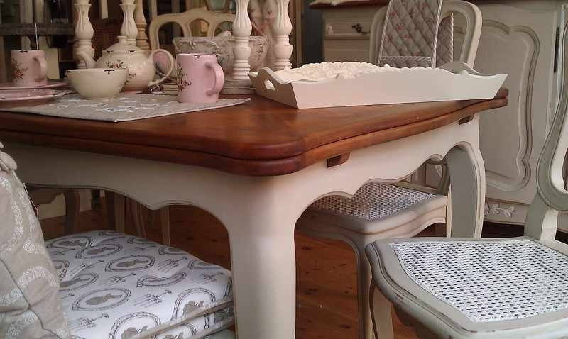 Painted Shabby Chic Furniture Farmhouse Table Oak Extedning Table Intended For French Chic Dining Tables (Image 19 of 25)