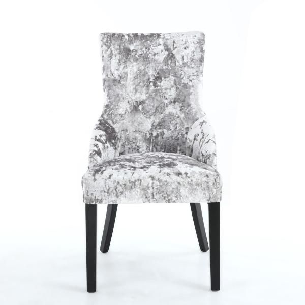 Pair Of Chester Crushed Velvet Silver Chair Dining Chairs Regarding Chester Dining Chairs (Image 21 of 25)