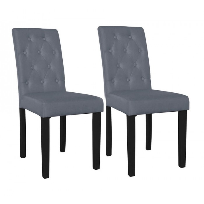 Pair Of Grey Button Back Dining Chairs – Dining Tables And Chairs Regarding Button Back Dining Chairs (Image 23 of 25)