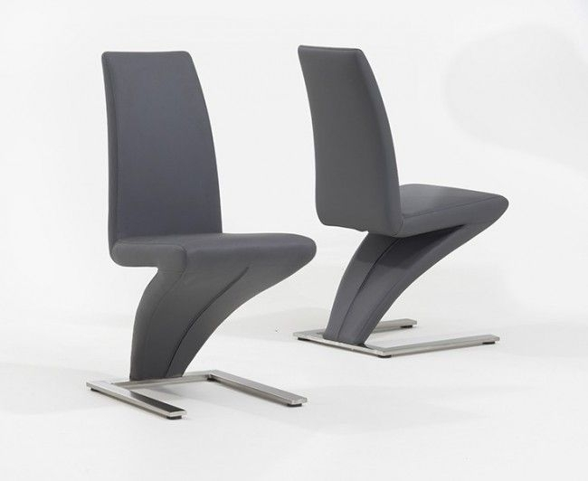 Pair Of Grey Hereford Pu Leather & Chrome Z Dining Chairs Within Chrome Dining Chairs (Image 18 of 25)