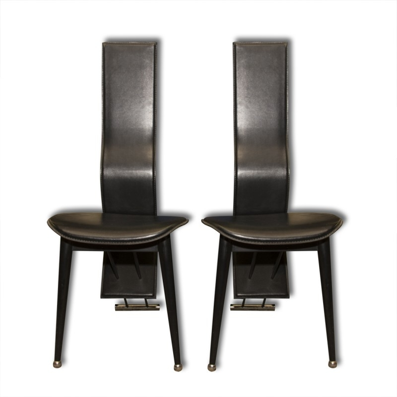 Pair Of Italian Mid Century High Back Leather Dining Chairs – 1980S Within High Back Leather Dining Chairs (View 8 of 25)