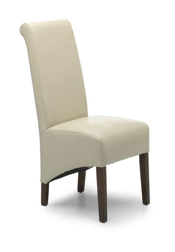 Pair Of Krista Ivory Leather Dining Chairs With Dark Legs Within Ivory Leather Dining Chairs (Image 20 of 25)