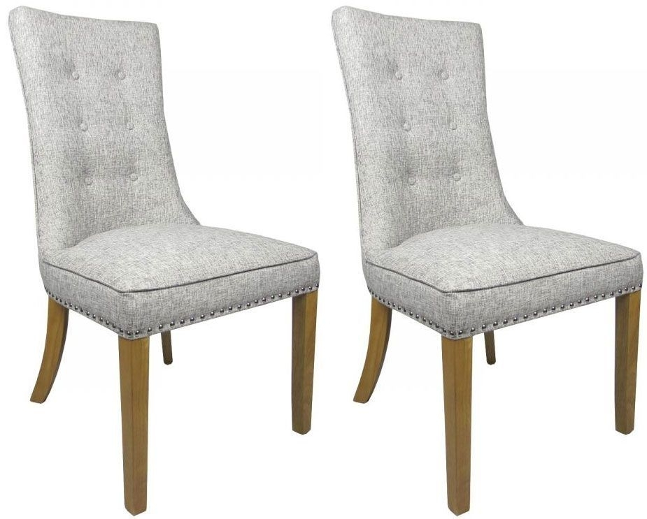 Pair Of Newbury Grey Weave Buttoned Fabric Dining Chairs Pertaining To Fabric Dining Chairs (Image 21 of 25)