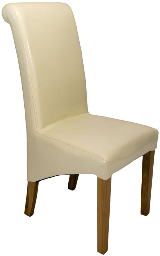 Pair Of Roll Top Cream Faux Leather Dining Chairs Regarding Cream Faux Leather Dining Chairs (Image 20 of 25)