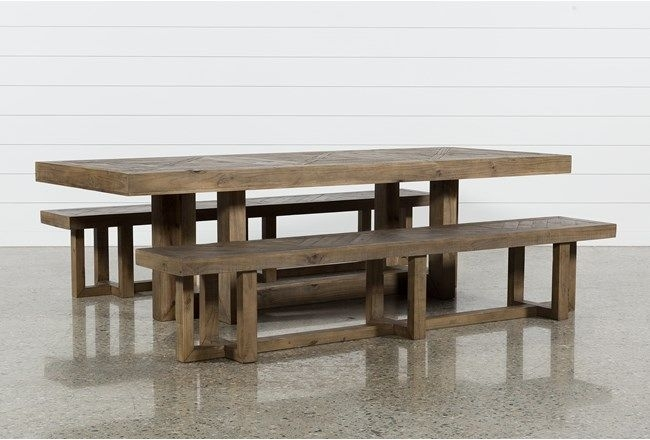 Palazzo 3 Piece Dining Table Set | Modern Farmhouse Decor/accents Pertaining To Norwood 7 Piece Rectangle Extension Dining Sets (Image 19 of 25)