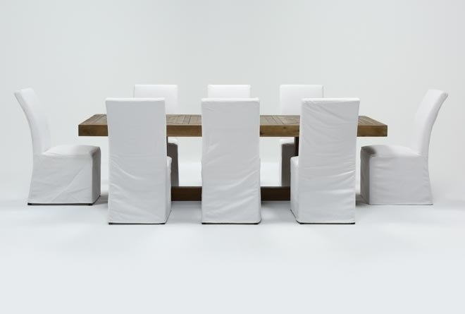 Palazzo 9 Piece Dining Set With Pearson White Side Chairs | Living Throughout Palazzo 7 Piece Dining Sets With Mindy Slipcovered Side Chairs (Image 18 of 25)