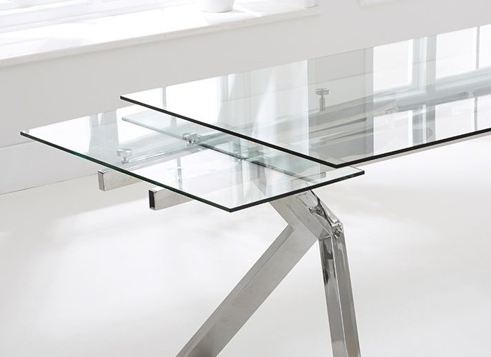 Palazzo Glass Extending Dining Table | Dining Tables Pertaining To Palazzo Rectangle Dining Tables (View 13 of 25)