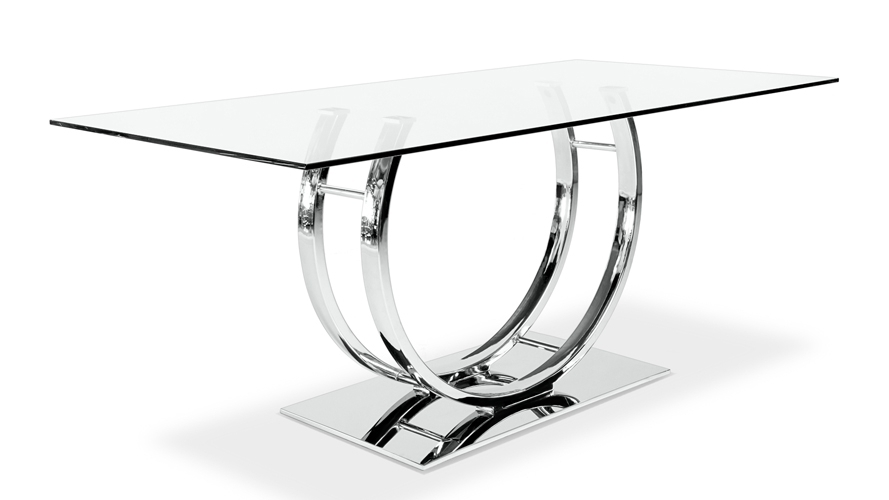 Palazzo Glass Modern Dining Table With Polished Chrome Base | Zuri With Regard To Palazzo Rectangle Dining Tables (View 18 of 25)