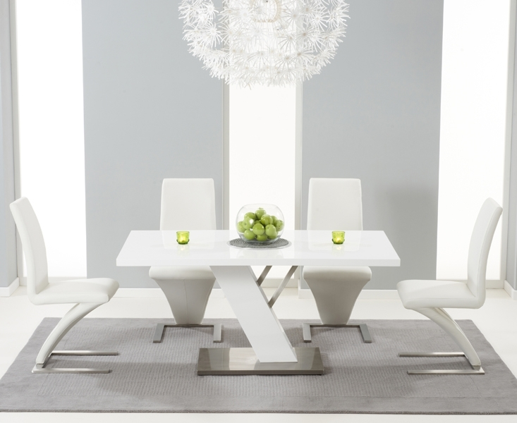Palma 160Cm White High Gloss Dining Table With Hampstead Z Chairs With Regard To White Gloss Dining Tables Sets (Image 18 of 25)