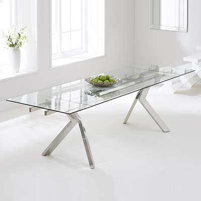 Palmero Glass Extending Dining Table – Robson Furniture Throughout Glass Folding Dining Tables (Image 18 of 25)