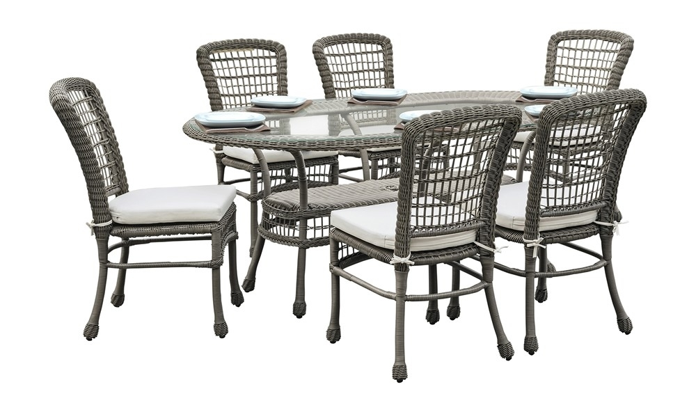 Panama Jack Carolina Beach 7 Piece Wicker Dining Set – Traditional Inside Gavin 7 Piece Dining Sets With Clint Side Chairs (View 2 of 25)
