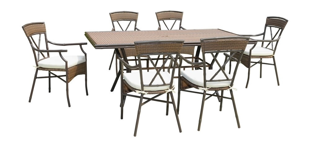 Panama Jack Rum Cay 7 Piece Wicker Dining Set – Traditional Wicker Pertaining To Gavin 7 Piece Dining Sets With Clint Side Chairs (View 6 of 25)