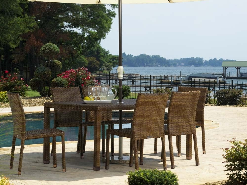 Panama Jack St Barths Wicker 7 Piece Side Chair Dining Set – Wicker For Gavin 6 Piece Dining Sets With Clint Side Chairs (View 22 of 25)