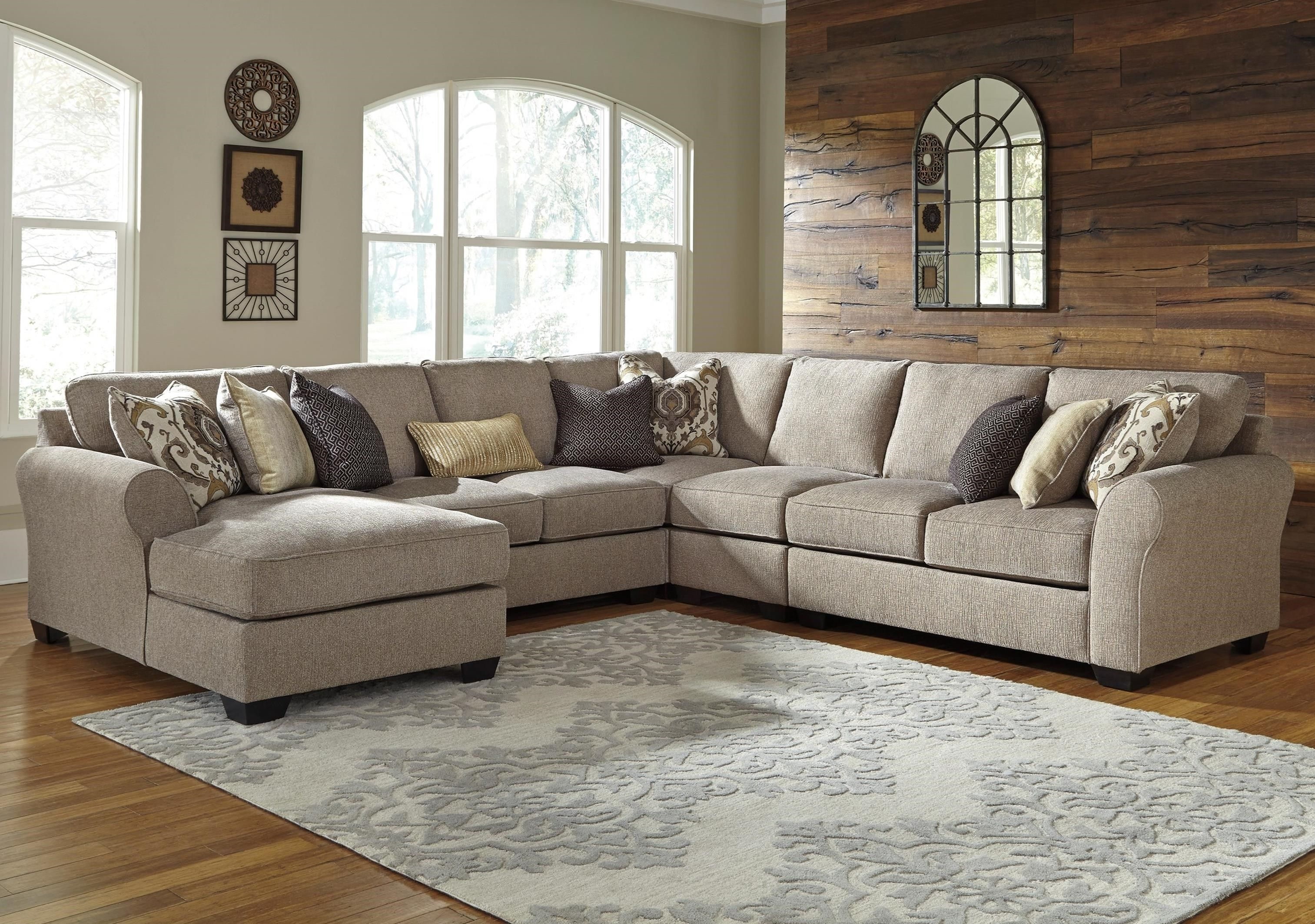 Pantomine 5 Piece Sectional With Left Chaisebenchcraft At In Denali Charcoal Grey 6 Piece Reclining Sectionals With 2 Power Headrests (View 12 of 25)