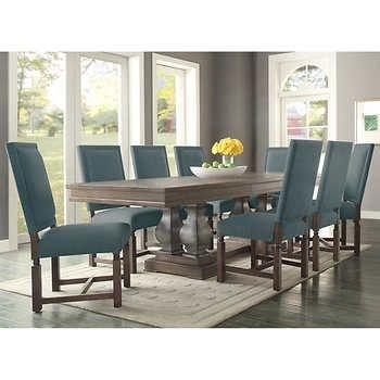 Parador 9 Piece Dining Set – Fabric Costco $2700 | Dining Room Regarding Caira 7 Piece Rectangular Dining Sets With Diamond Back Side Chairs (View 2 of 25)