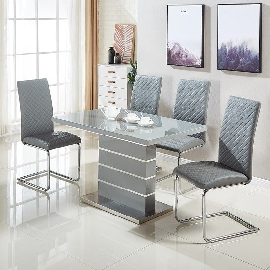 Parini Glass Extendable Dining Set In Grey Gloss With 4 with regard to Grey Gloss Dining Tables