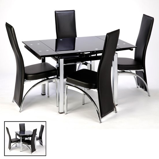 Paris Extending Glass Dining Table With Chrome Legs 18982 Throughout Black Glass Dining Tables (View 7 of 25)