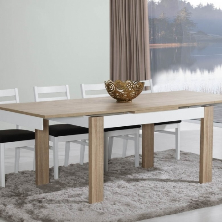 Paris Natura Oak/white Dining Table Inside Paris Dining Tables (View 11 of 25)