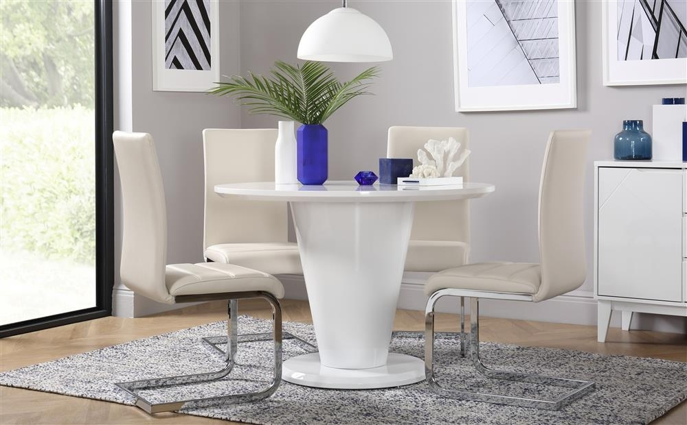 Paris & Perth White High Gloss Round Dining Table And 4 Chairs Set Pertaining To Perth White Dining Chairs (Image 16 of 25)