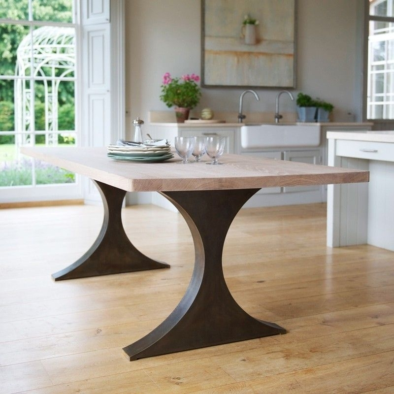 Paris Rectangular Dining Table With Metal Legs And Wood Top Tom With Regard To Dining Tables With Metal Legs Wood Top (Image 17 of 25)