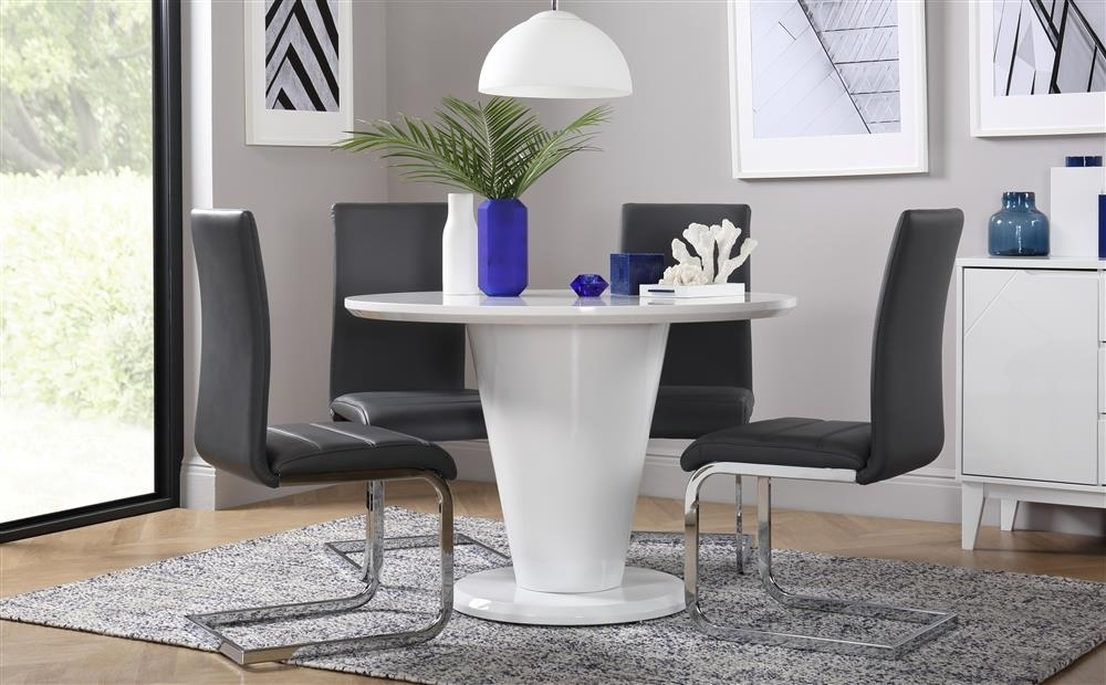 Paris Round White High Gloss Dining Table With 4 Perth Grey Chairs Within White High Gloss Dining Tables And 4 Chairs (Image 15 of 25)