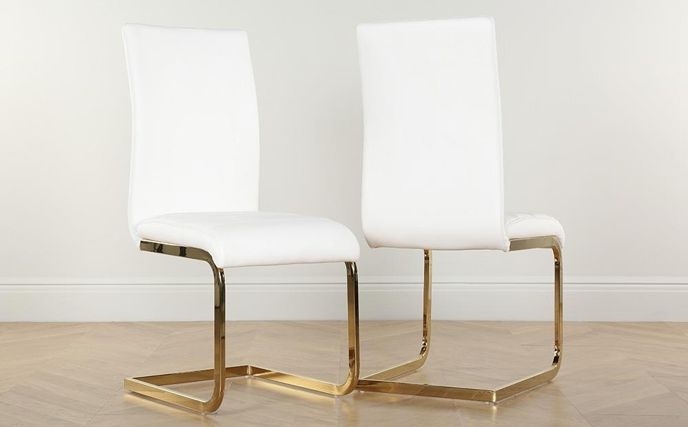 Paris Round White High Gloss Dining Table With 4 Perth White Chairs With Perth White Dining Chairs (Image 17 of 25)