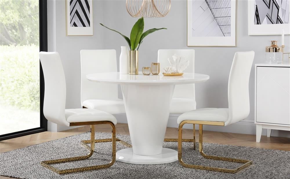 Paris Round White High Gloss Dining Table With 4 Perth White Chairs Within Perth White Dining Chairs (Image 18 of 25)