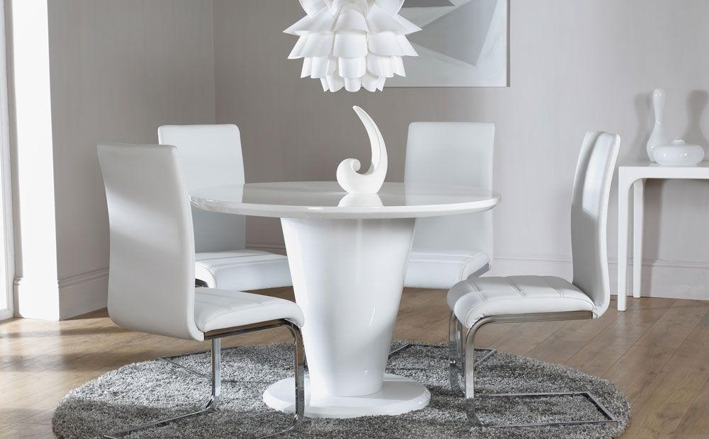 Paris White High Gloss Dining Table – With 4 Perth White Chairs Throughout Round High Gloss Dining Tables (Image 17 of 25)