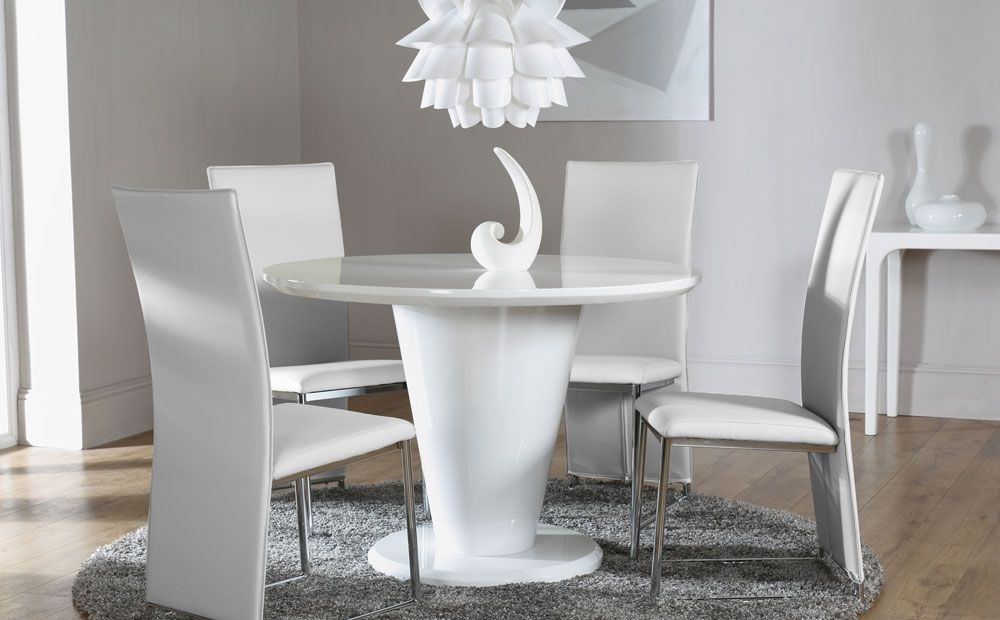 Paris White High Gloss Round Dining Table And 4 Chairs Set (Athens with White High Gloss Dining Tables And 4 Chairs