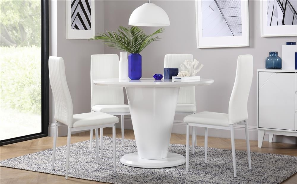 Paris White High Gloss Round Dining Table And 4 Chairs Set (Leon Regarding Leon Dining Tables (View 19 of 25)
