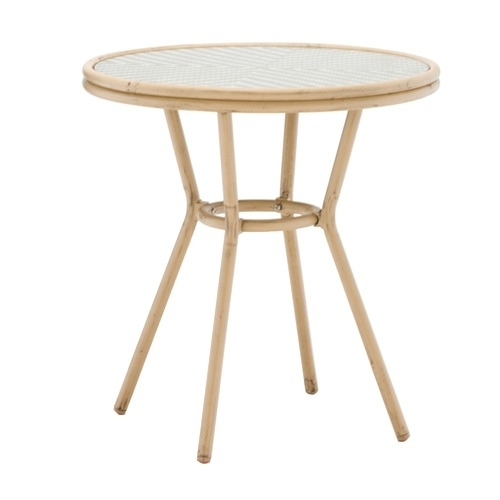 Paris Wicker Cafe 70Cm Round Dining Table   Temple & Webster For Paris Dining Tables (Image 21 of 25)