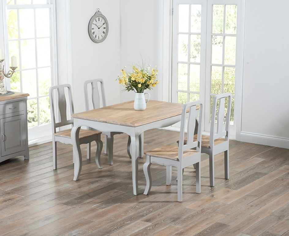 Parisian 130Cm Grey Shabby Chic Dining Table With Chairs | The Great For Shabby Chic Dining Chairs (View 25 of 25)
