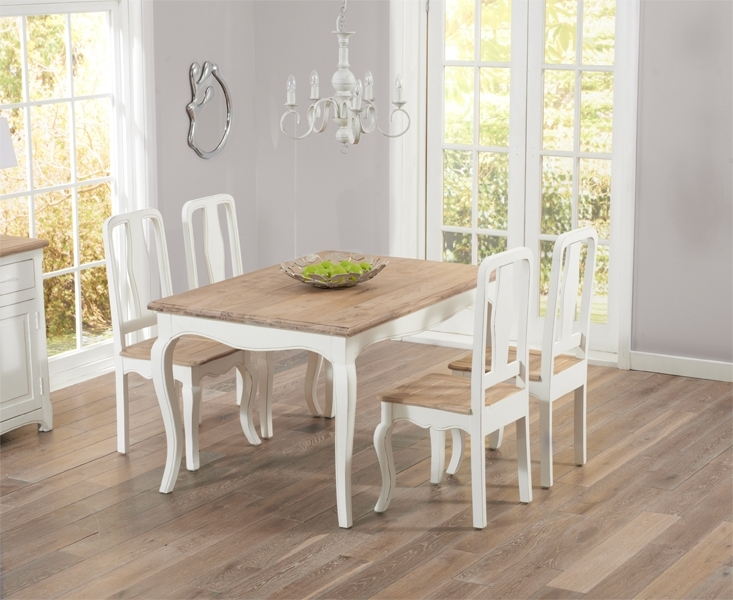 Parisian 130Cm Shabby Chic Dining Table With Chairs For Shabby Chic Dining Chairs (View 14 of 25)