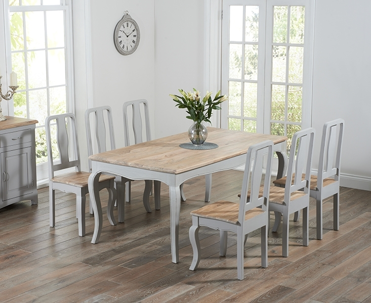 Parisian 175Cm Grey Shabby Chic Dining Table With Chairs Regarding French Chic Dining Tables (Image 20 of 25)