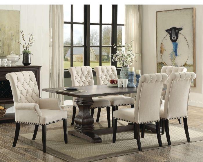 Parkins Rustic Espresso 7 Piece Rectangular Dining Table Set Regarding Rectangular Dining Tables Sets (Image 20 of 25)