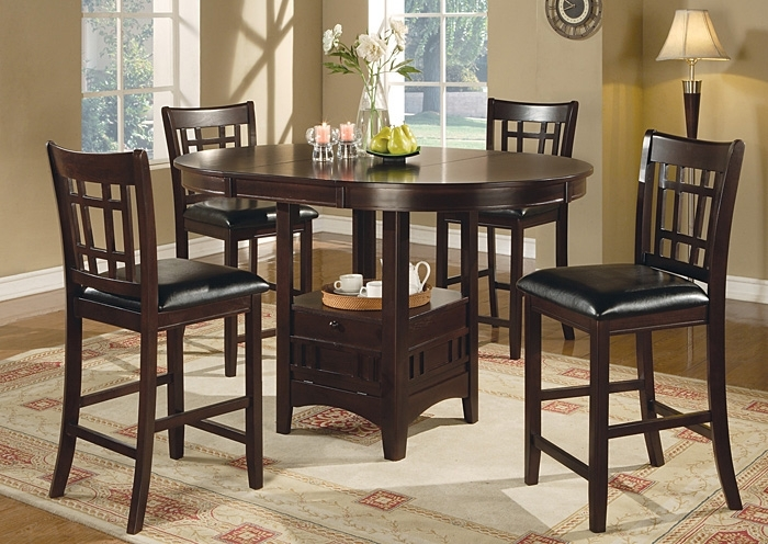 Parkview Furniture Counter Height Table W/4 Bar Stools pertaining to Jaxon 5 Piece Extension Counter Sets With Fabric Stools