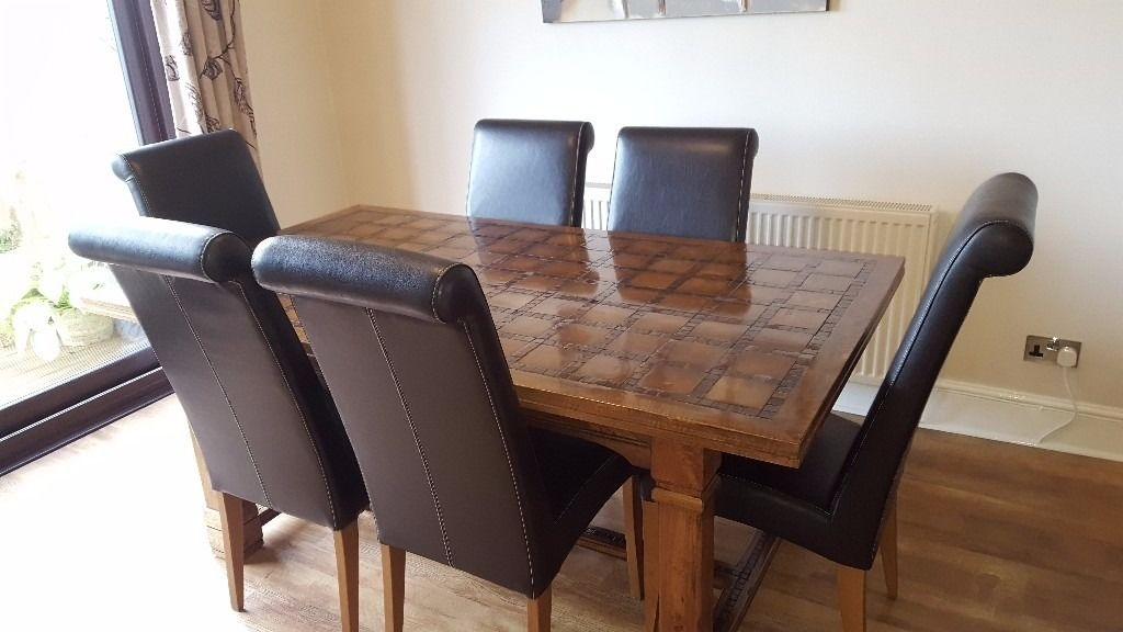 Parquet, Mango Wood Dining Table And 6 Chairs Sold Subject To Regarding Parquet 6 Piece Dining Sets (Image 18 of 25)