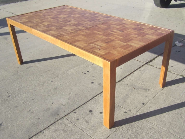 Parquet Top Parsons Table At 1Stdibs Within Parquet Dining Tables (Image 15 of 25)