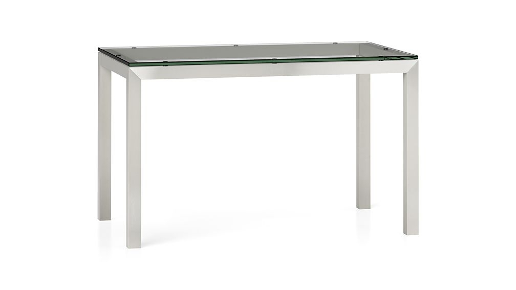 Parsons Clear Glass Top/ Stainless Steel Base 48X28 Dining Table + Pertaining To Glass And Stainless Steel Dining Tables (Image 19 of 25)