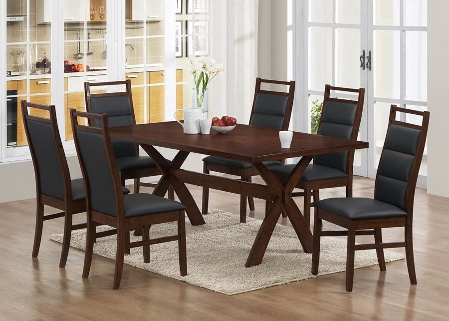 Part Of Modern Collection, This Dining Room Set Comes In A Wonderful Within Caira 7 Piece Rectangular Dining Sets With Upholstered Side Chairs (View 17 of 25)