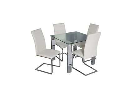 Pasco Square Dining Table And 4 Alcora Chairs In White (View 23 of 25)