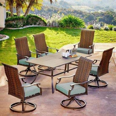 Patio Dining Sets – Patio Dining Furniture – The Home Depot Inside Market 7 Piece Dining Sets With Host And Side Chairs (View 24 of 25)