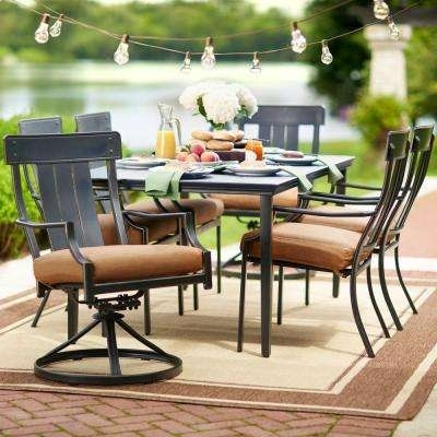Patio Dining Sets – Patio Dining Furniture – The Home Depot Pertaining To Market 7 Piece Dining Sets With Host And Side Chairs (View 25 of 25)