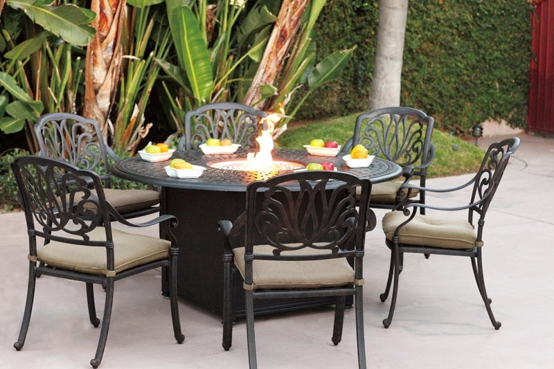 """Patio Furniture Dining Set Cast Aluminum 60"""" Round Propane Fire Pit Pertaining To Outdoor Dining Table And Chairs Sets (View 14 of 25)"""