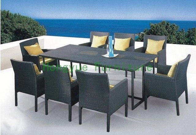Patio Rattan Dining Set With Cushion And Glass,wicker Dining Table Intended For Rattan Dining Tables And Chairs (Image 11 of 25)