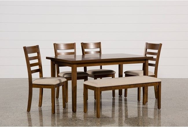Patterson 6 Piece Dining Set, Brown | Dining, Side Chair And Bench For Rocco 7 Piece Extension Dining Sets (Image 14 of 25)