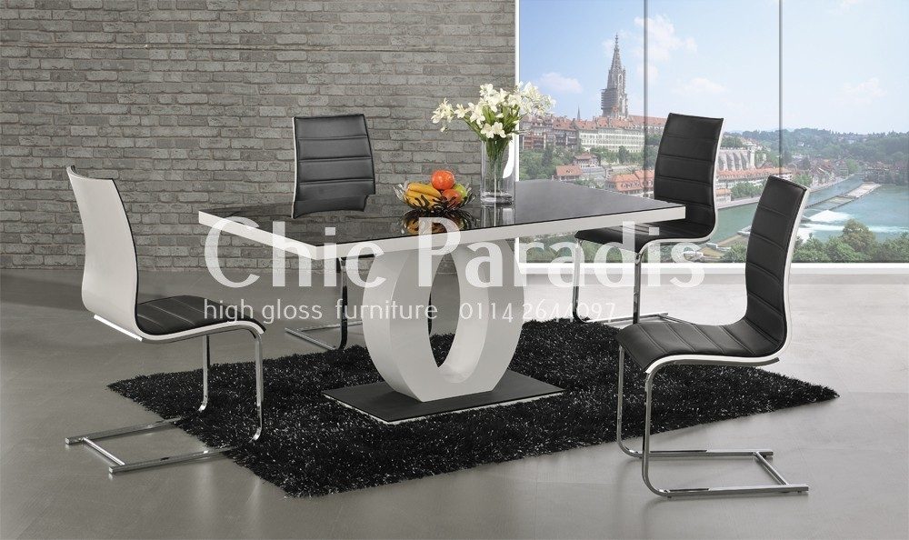 Paula High Gloss White Dining Table With Black Glass Top In High Gloss White Dining Chairs (View 13 of 25)