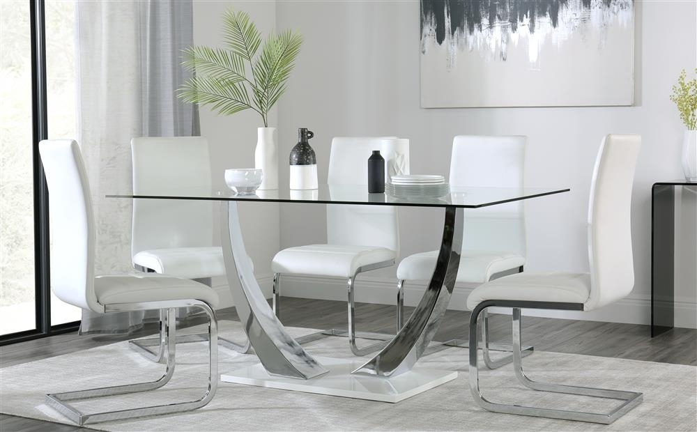 Peake Glass And Chrome Dining Table (White Gloss Base) With 4 Perth Inside Perth Glass Dining Tables (Image 17 of 25)