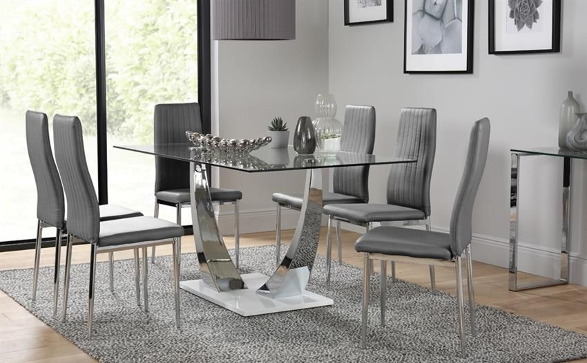 Peake Glass & Chrome Dining Table (White Gloss Base) – With 6 Leon With Leon Dining Tables (Image 21 of 25)