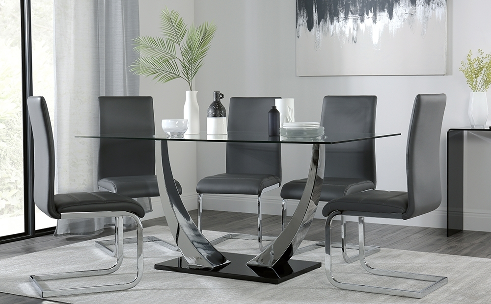Peake & Perth Black High Gloss And Glass Dining Table & 4 6 Chairs Intended For Perth Glass Dining Tables (View 3 of 25)
